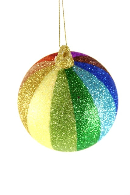 Striped Glitter Rainbow Ball