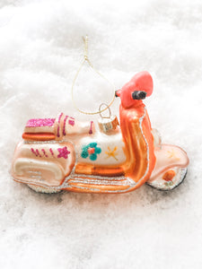 Glass Hand Painted Scooter Ornament