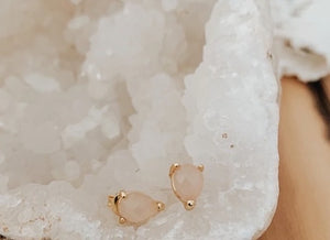 Capri Studs in Rose Quartz