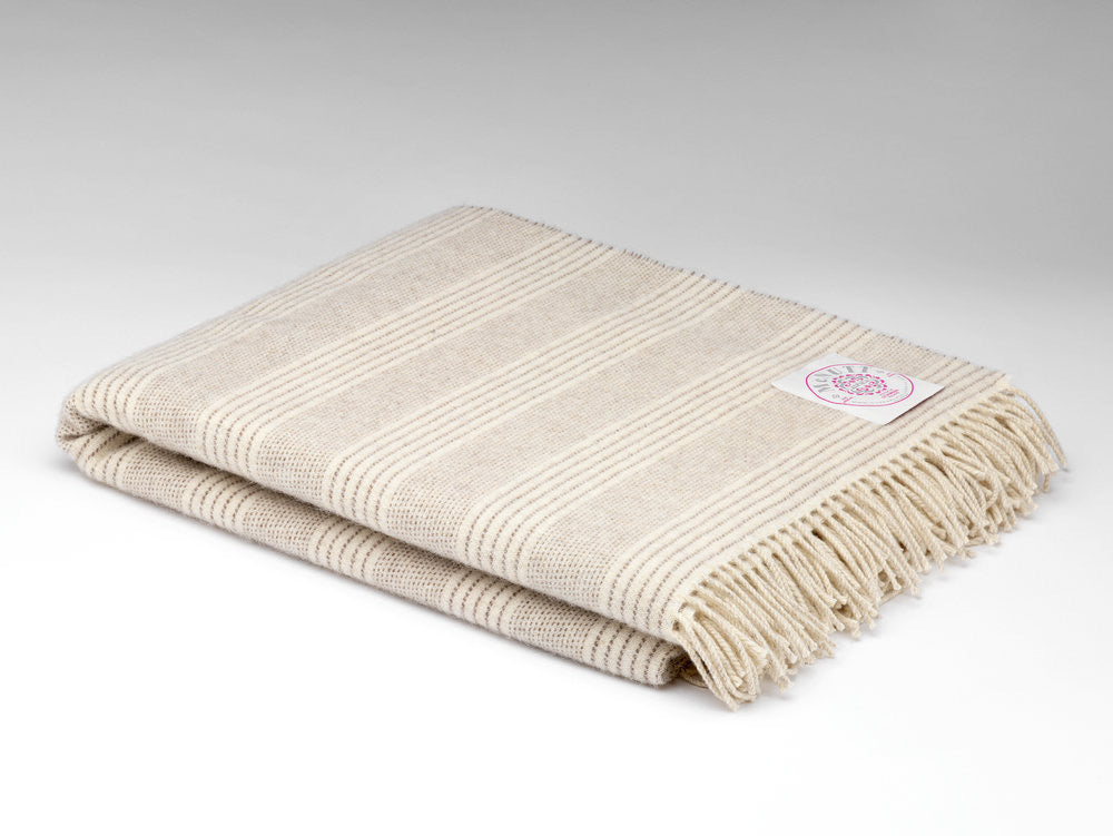 Natural Stripe Alpaca Throw
