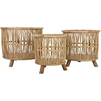 Set of 3 Footed Bamboo Baskets