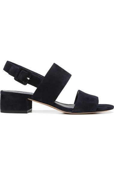 Vince Taye Navy Suede Sandal, Italian sandal featuring a block heel with a squared back detail and ankle strap. Navy suede