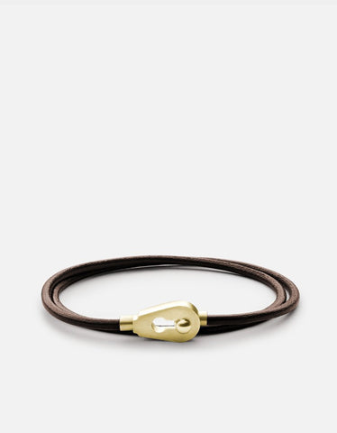 Miansai Brown Centra Leather Wrap Bracelet with Brass Closure
