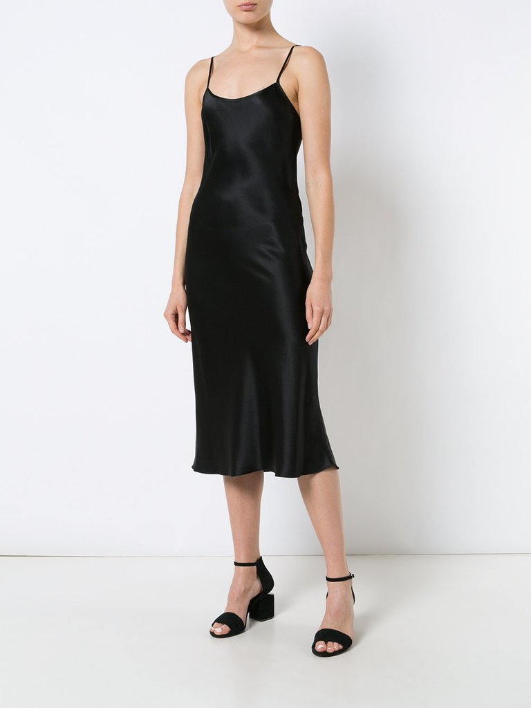 VOZ Liquid Slip Dress Black - Midi Length