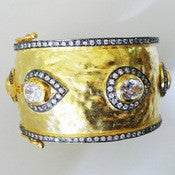Bold Gold Bracelet with Crystals