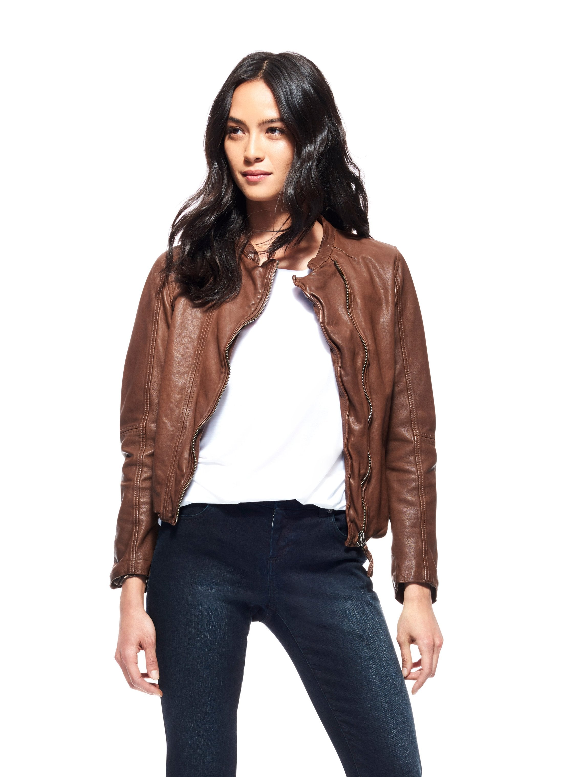 Brown washed leather, asymmetric, slim fit jacket found at Patricia in Southern Pines, NC