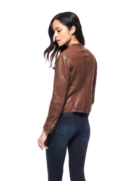 ECRU Brown Washed Leather Jacket