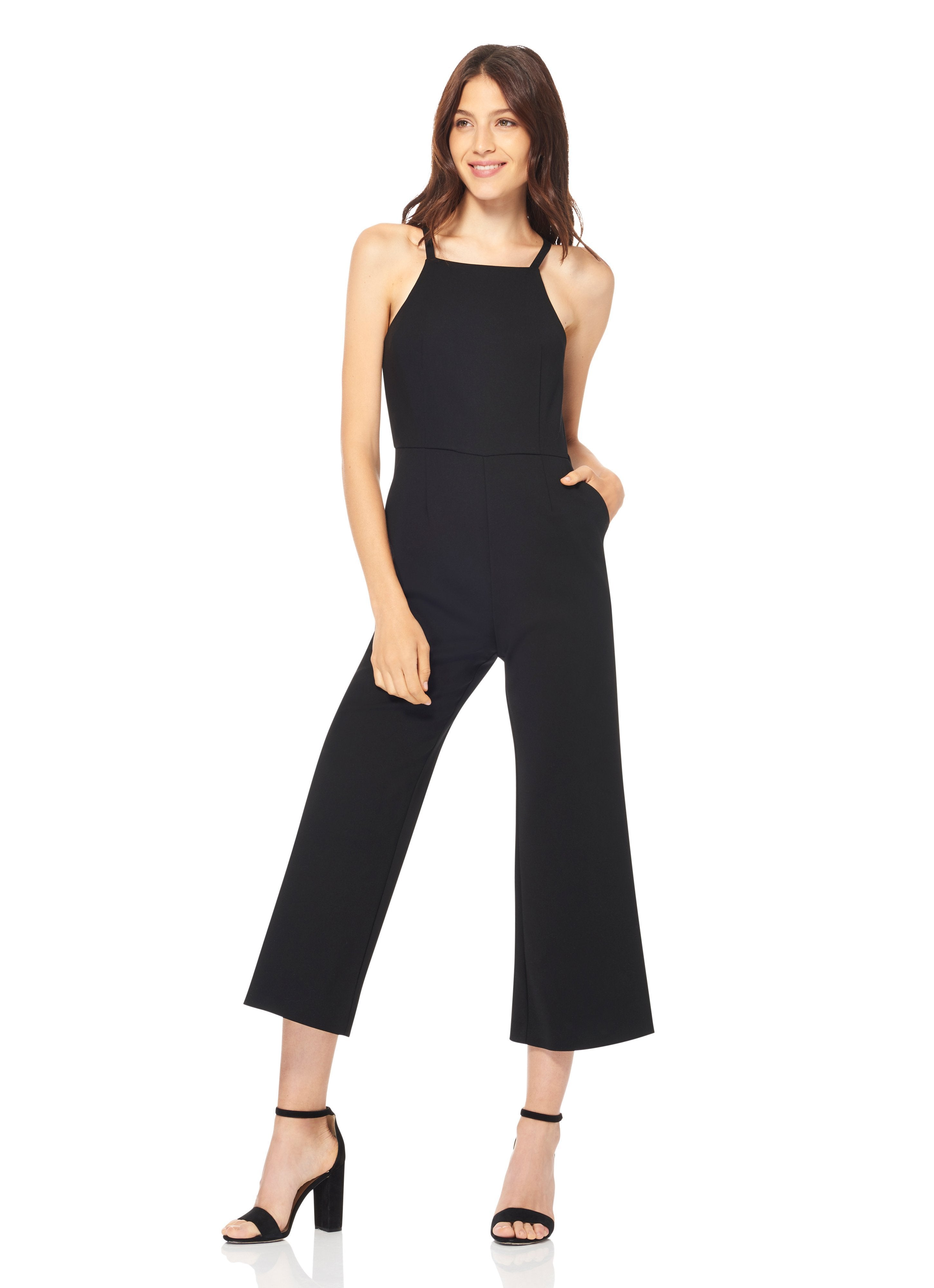 Black cotton poly blend jumpsuit with spaghetti straps and back pockets, found at Patricia in southern Pines, NC