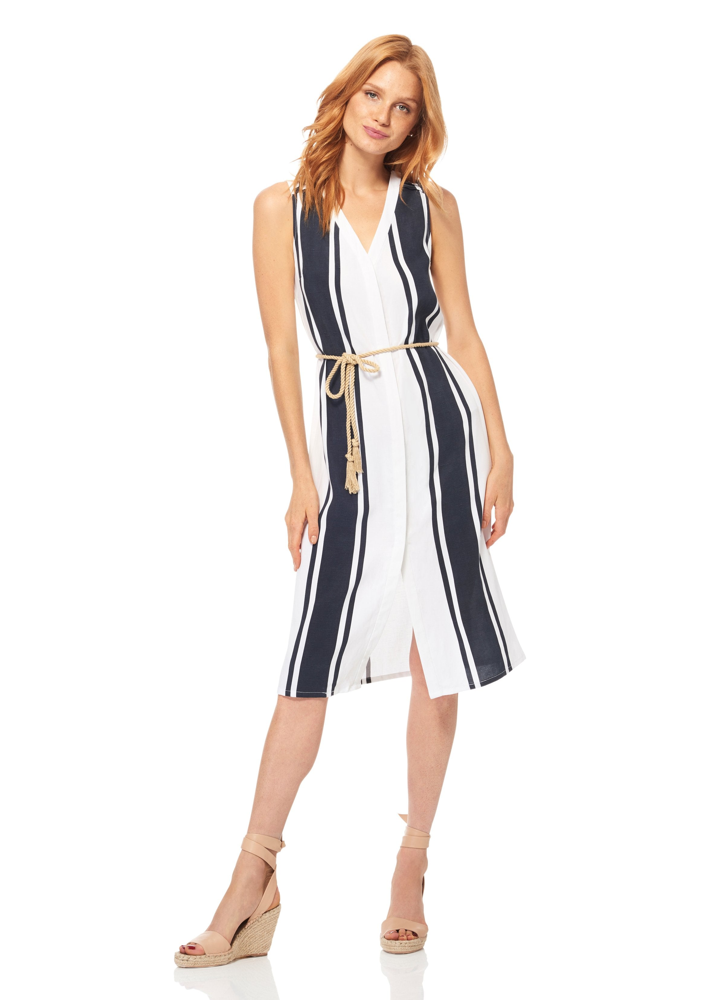 Ecru Bold Stripe Dress with Rope Belt