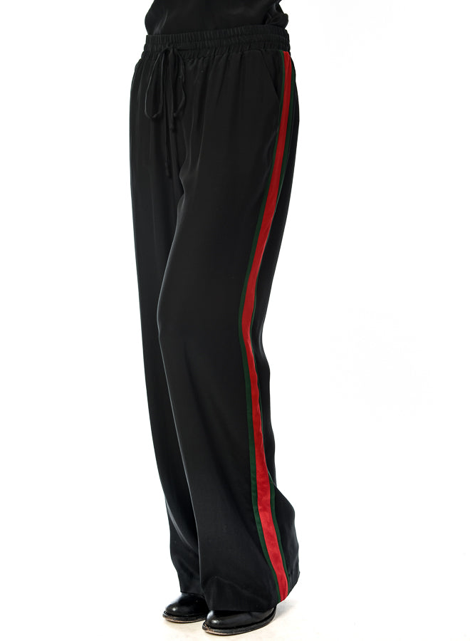 Acrobat black silk charmeuse pant with drawstring waist and stripes down the sides found at Patricia In Southern Pines, NC