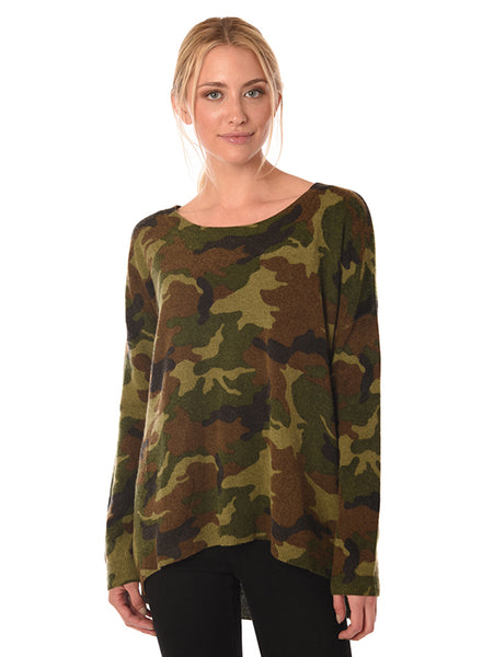 Acrobat Camo Wool blend sweater with hi-lo hem found at Patricia in southern Pines, NC