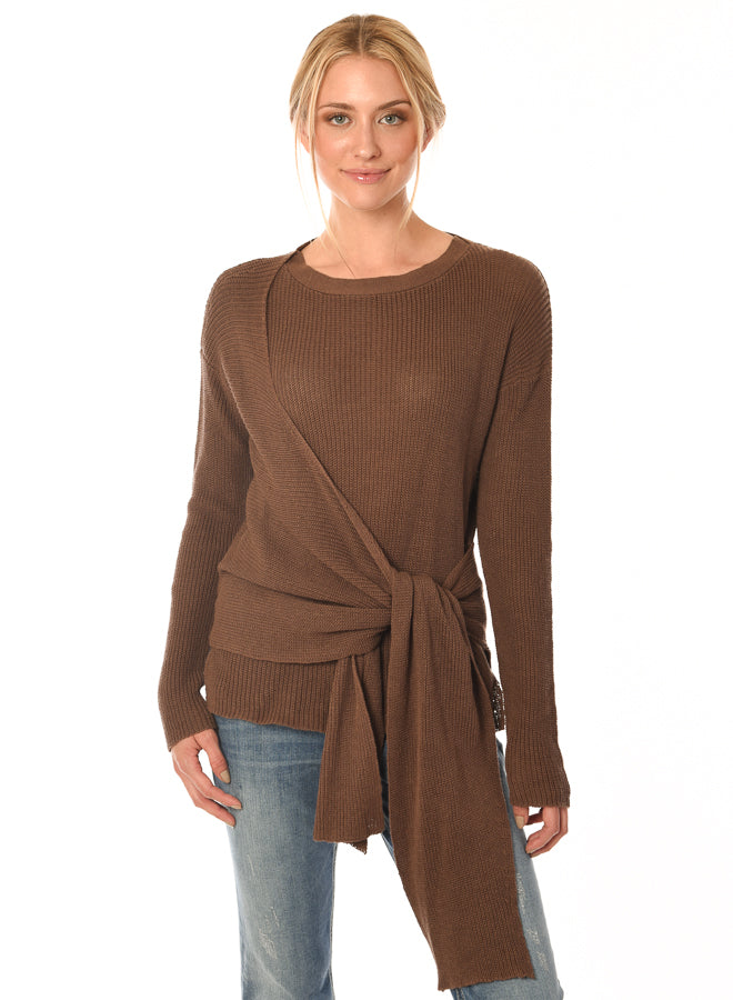 Acrobat linen/cotton latte sweater with a faux wrap found at Patricia in Southern Pines, NC