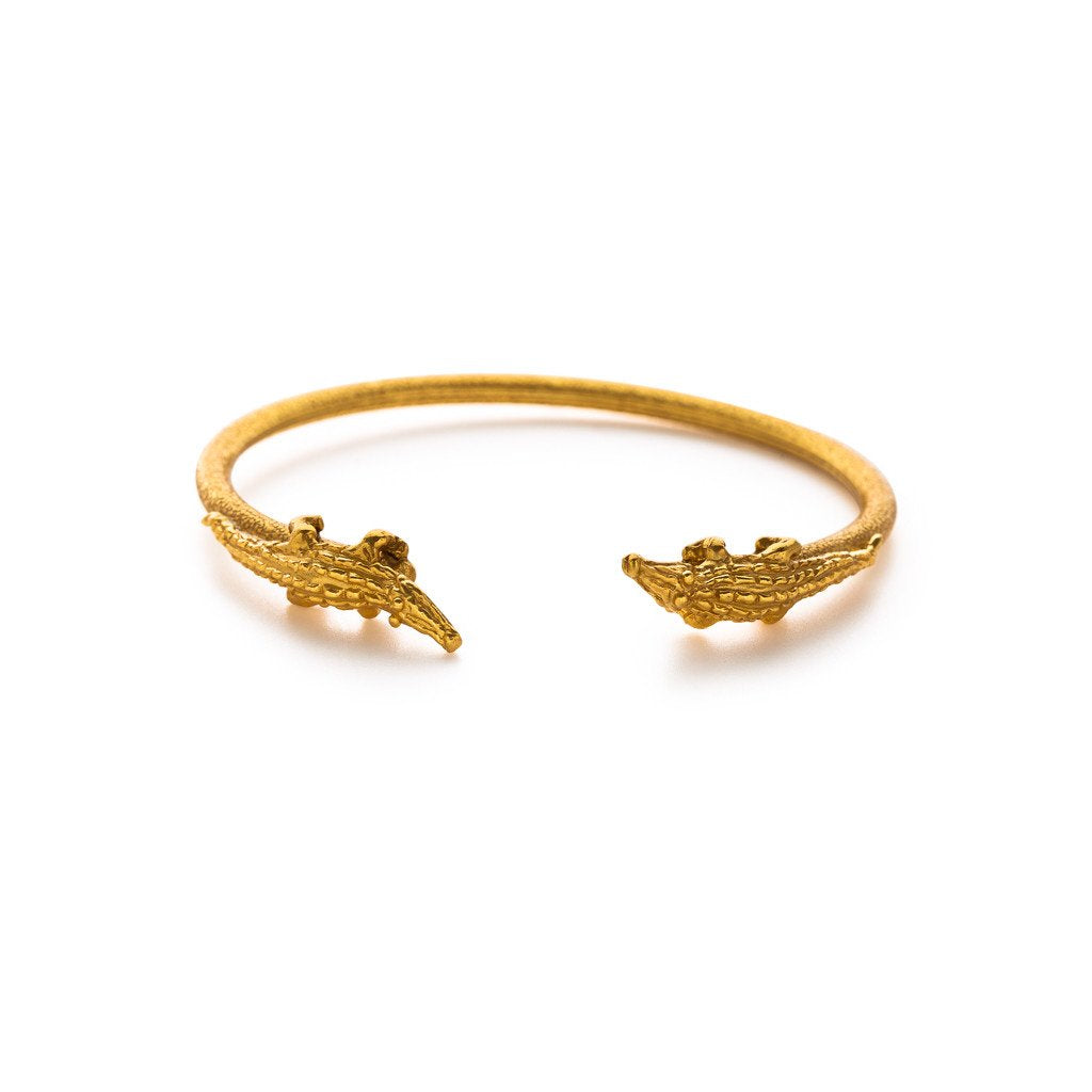 Gold Alligator Flexible Open Bangle