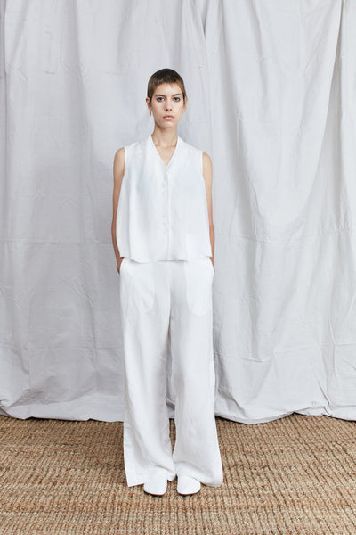 Shosh Ample Slit Linen Trouser