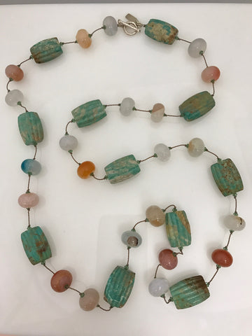 Margo Morrison Turquoise Necklace with Multi Colored Agate and Swarovski Crystals