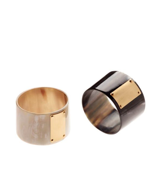 CATHs Medium Width Horn and Bronze Cuff
