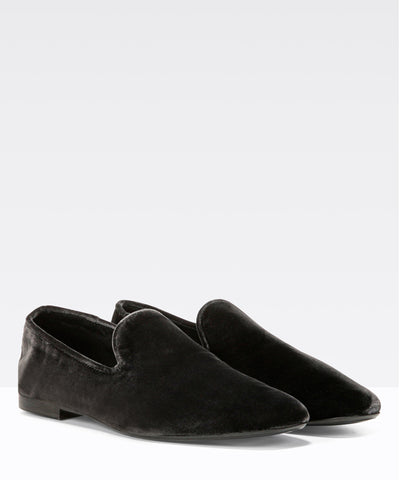 Vince Bray Pewter Velvet Slip-on Flat
