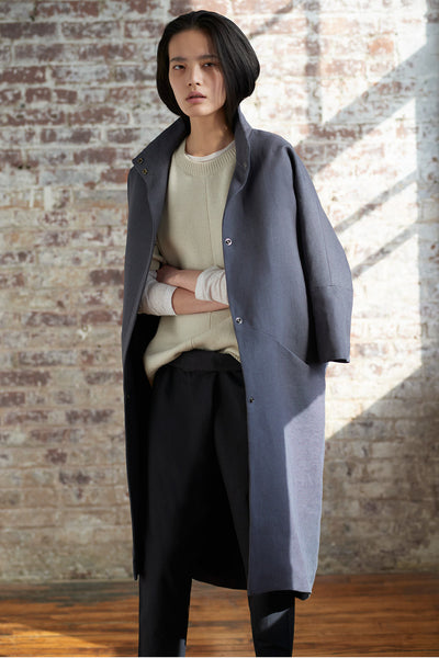 Emerson Fry Cocoon Coat Charcoal Linen
