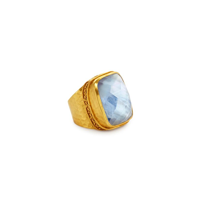 Catalina Statement Ring Gold Iridescent Chalcedony Blue