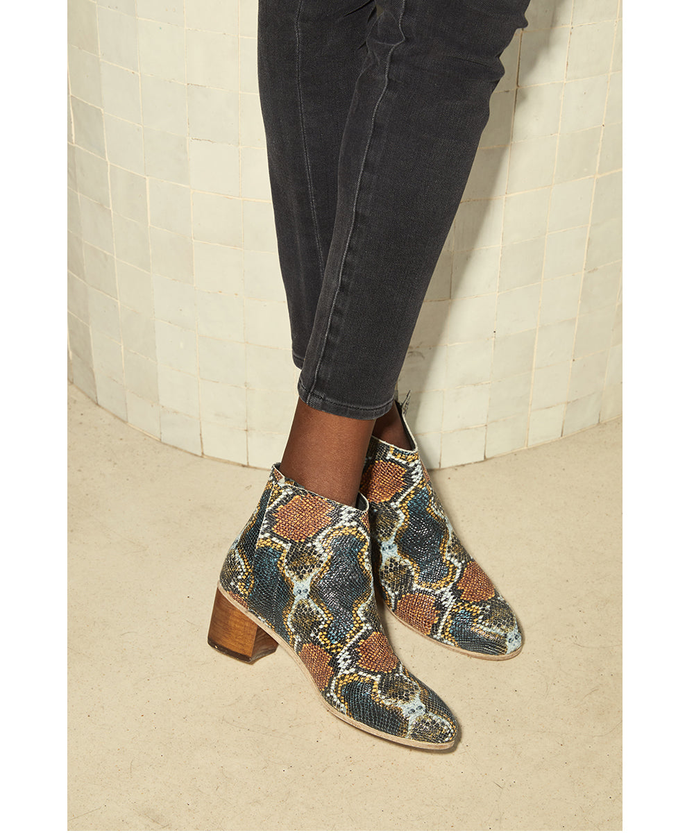 Ceri Hoover Carioca Printed Python  Sydney Boots available at PATRICIA North Hills Raleigh, NC