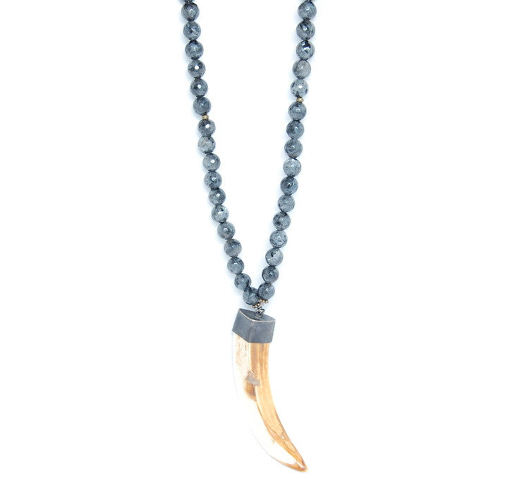 T. Marie Pyrite covered Labradorite and Boars tooth Necklace