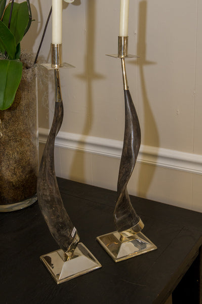 Horn and Sterling Silver Candlesticks