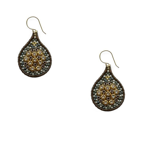 Miguel Ases Earrings with Brown Leather and Miyuki Beads