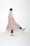 women's linen swing coat in clay