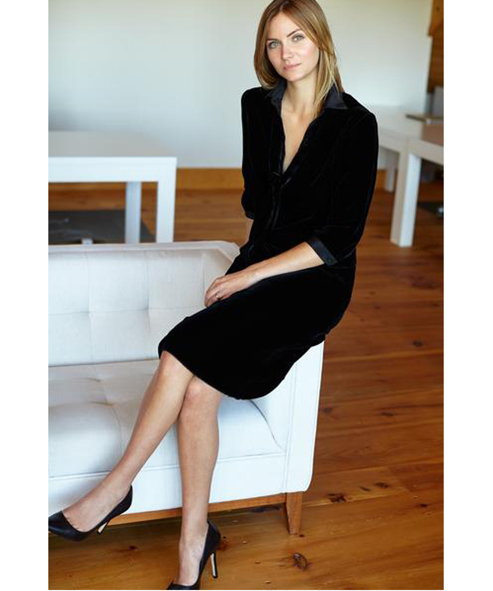 Emerson Fry black velvet shirt dress