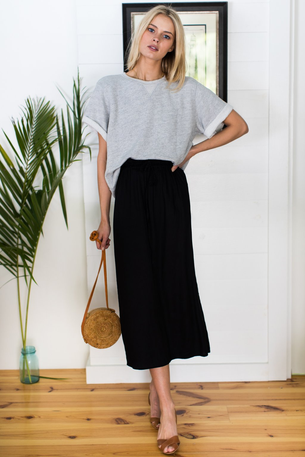 Emerson Fry Drawstring Skirt Black