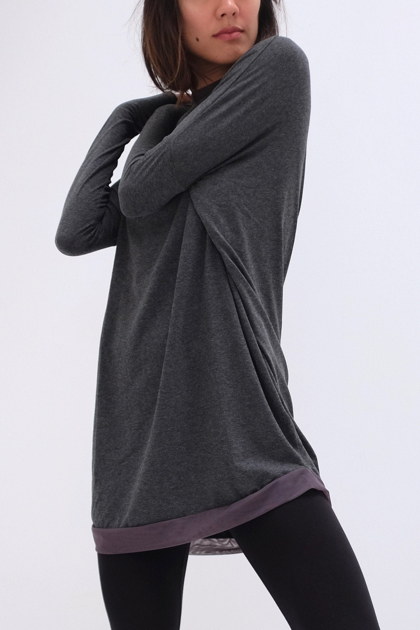 Natalie Busby Slouchy T Dress with Mesh in Charcoal