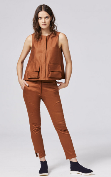 Shosh fitted ankle pant in sienna