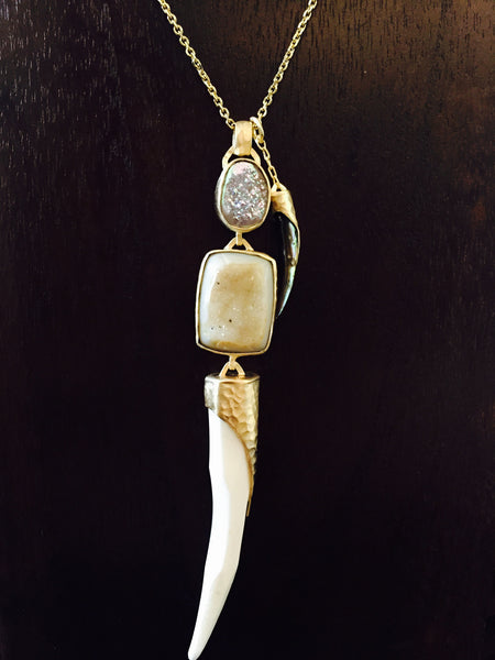 Heather Benjamin | White Bone & Drusy Necklace