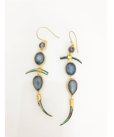 Heather Benjamin Kyanite Asymmetrical Earrings