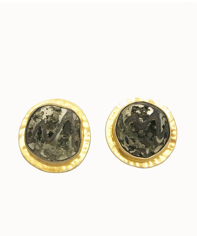 Heather Benjamin Pyritized Ammonite Cufflinks