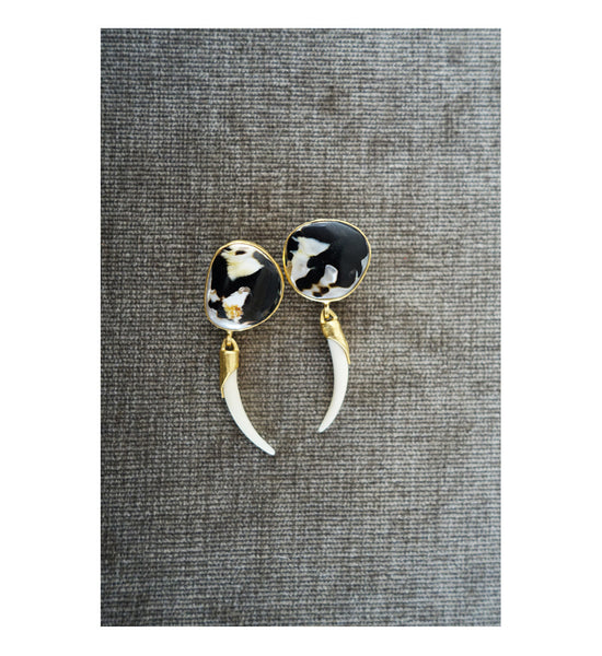 Heather Benjamin Black and white shell earrings