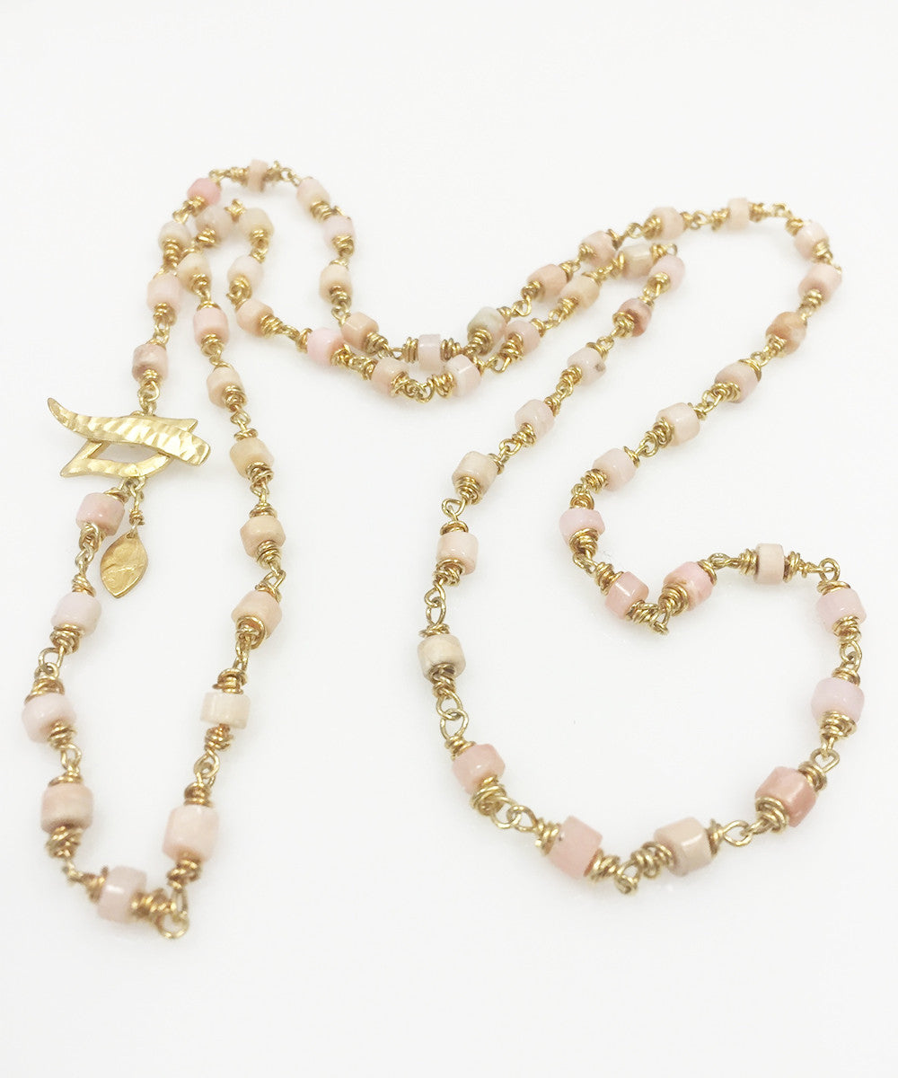 Heather Benjamin| Handmade Pink Opal Wire Wrap Beaded Necklace