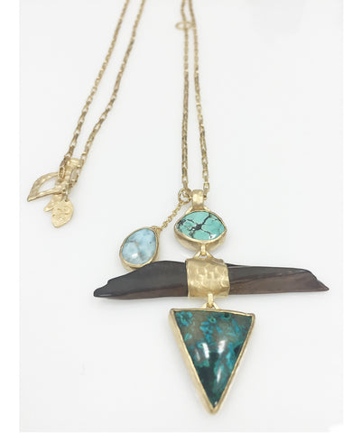 Heather Benjamin| Handmade Turquoise, Azurite and Antique Tusk Necklace
