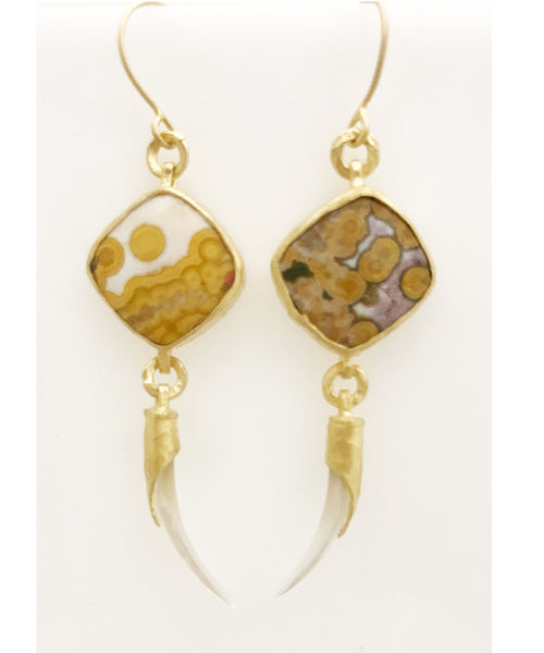 Heather Benjamin Handmade Yellow Ocean Jasper Earring