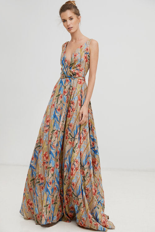 Beautiful Harshman long floral ramie dress with self tie belt found at PATRICIA in southern Pines and Raleigh, NC
