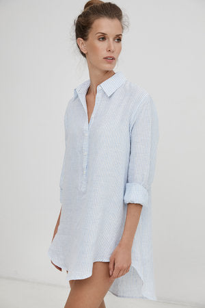 Harshman 100% blue linen popover shirt with long sleeves, found at PATRCIA in Southern Pines and Raleigh, NC