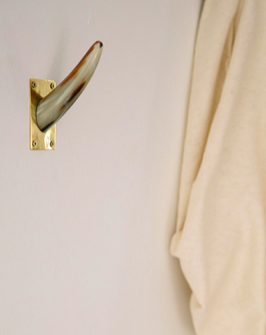 Brass and horn wall hooks