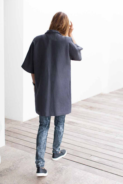 Emerson Fry | Topper Coat - Charcoal Linen