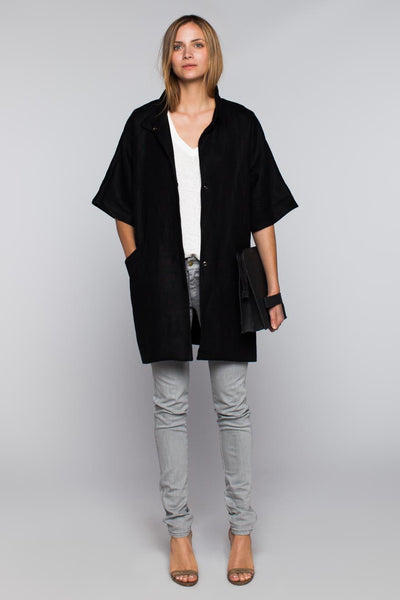 Emerson Fry | Topper Coat - Black Linen