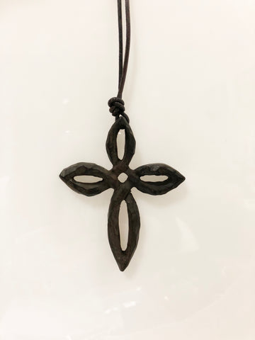 LoU Zeldis Black Wood Cross Pendant on Leather