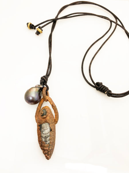 Copper Relic and Pearl Pendant on Leather