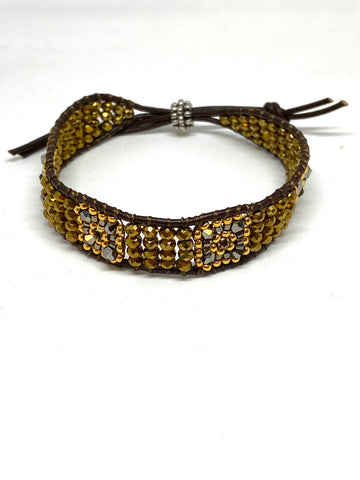 Miguel Ases Leather Bracelet with Swarovski and Bronze Rondell