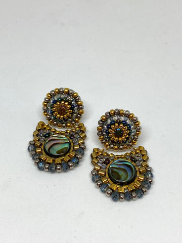 Miguel Ases Abalone Swarovski Earrings