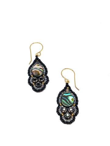 Miguel Ases Abalone and Swarovski Crystal Earrings on Black Leather