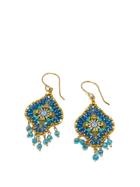 Miguel Ases Swarovski Crystal and Turquoise Miyuki Bead Earrings, found at Patricia in Southern Pines, NC